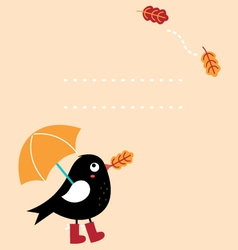 Cute autumn greeting card with cartoon bird vector