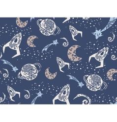 Space wallpaper endless pattern hand art vector