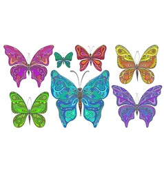 Set of colorfull ornamental butterflies isolated vector