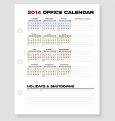2014 clean corporate office calendar vector
