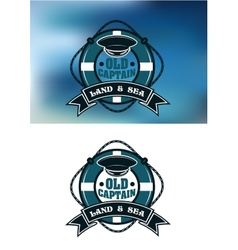 Captain emblem with cap and lifebuoy vector