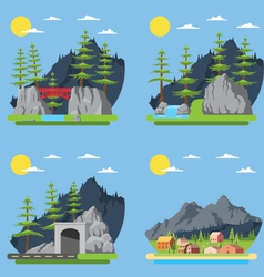 Flat design of countryside forest vector