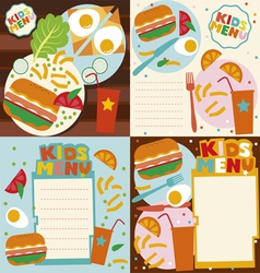 Kids menu templates set vector
