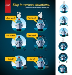 Ship in various situations vector
