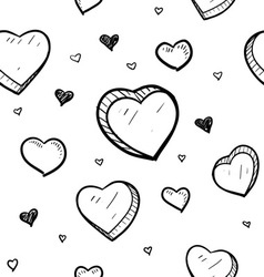 Doodle hearts seamless pattern vector