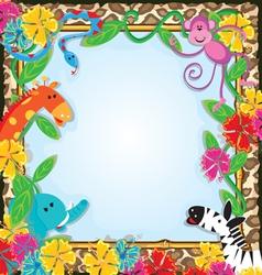 Jungle zoo party invitation vector