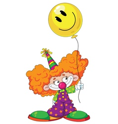Kid clown with baloon vector