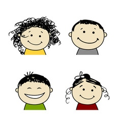 Smiling people icons for your design vector