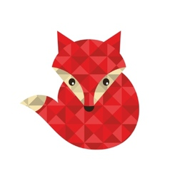 Little red fox made of triangles vector