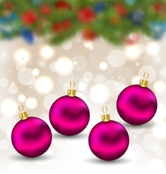 Christmas background with glass balls - vector
