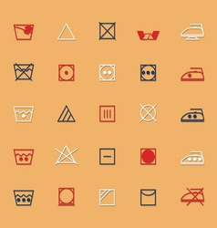 Fabric care sign and symbol icons with shadow vector