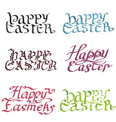 Collection calligraphy inscription happy easter vector