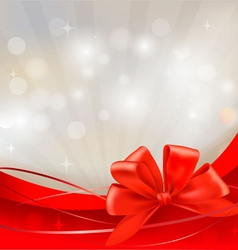 Background with red bow and ribbons vector