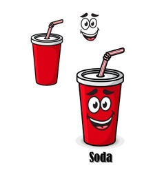Soda drink in a red takeaway cup with straw vector