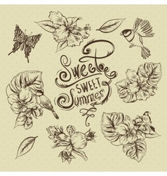 Vintage monochrome collection of tropical flowers vector