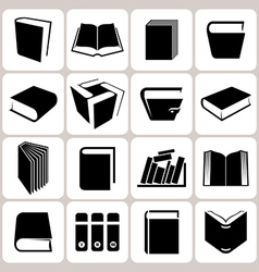 16 book icons set vector