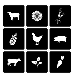 Rural icons set vector
