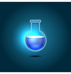 Glass chemical flask with blue toxic liquid vector