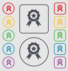Award medal of honor icon sign symbol on the round vector