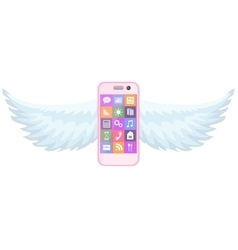 Smartphone with wings vector