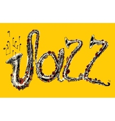 Jazz concept music engraved hand drawn sketch vector