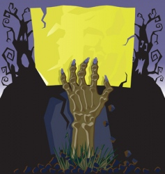 Zombie hand invitation vector