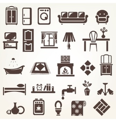 Big set of furniture and home related silhouettes vector