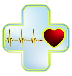 Heart and healthcare symbol vector