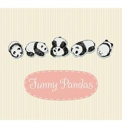 Funny pandas set vector