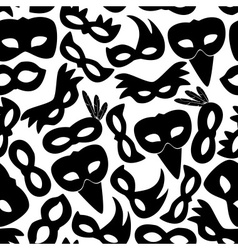 Carnival rio black masks icons seamless pattern vector