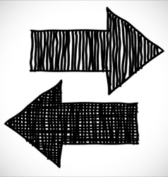 2 hand drawn arrows vector
