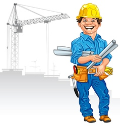 Cheerful engineer builder vector