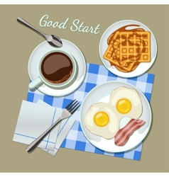 Breakfast set top view vector