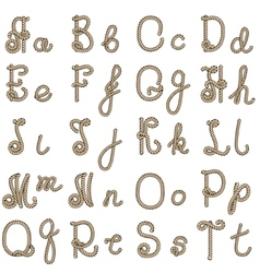 Old rope alphabet from a to t vector