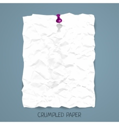 Crumpled paper sheet with pin vector