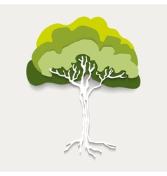 Silhouette green tree vector