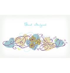 Cute floral background retro card vector
