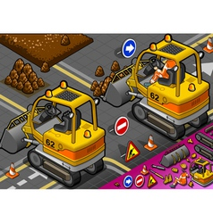 Isometric mini excavator in rear view vector