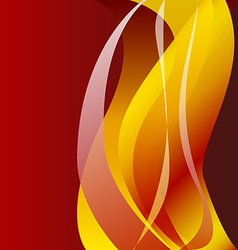 Fiery flame on a dark background vector