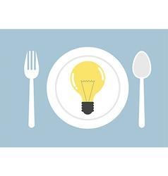 Eat new ideas light bulb on dish vector