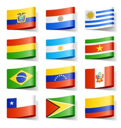 South america flags vector