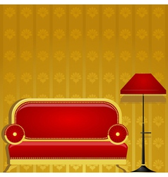 Sofa and a floor lamp vector