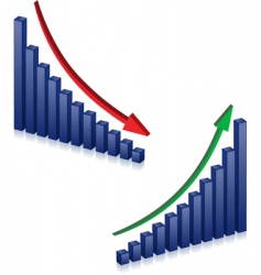 Business failure and growth graphs vector