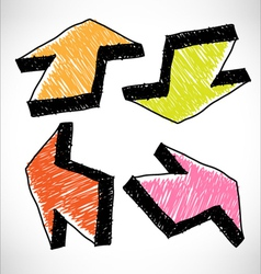 4 hand drawn color arrows vector