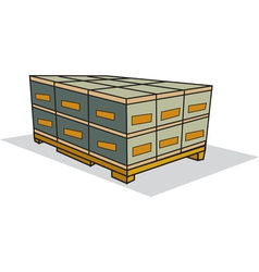 Pallet of boxes vector