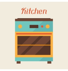 Card with kitchen oven in retro style vector