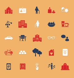 Retirement community flat icons with shadow vector