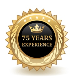 Seventy five years experience badge vector