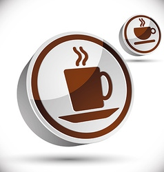 Tea and coffee cups icons vector