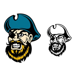 Old pirate captain in cartoon style vector